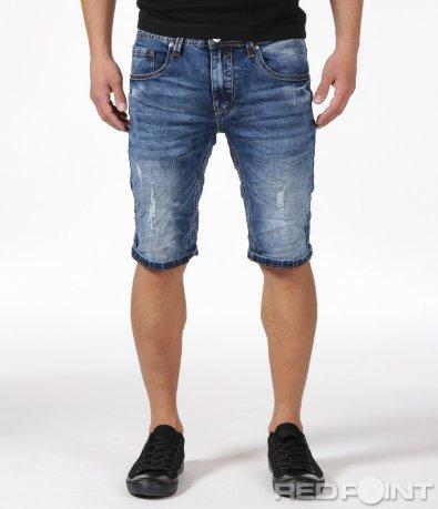 Сини къси дънки с протрит ефект 6148
