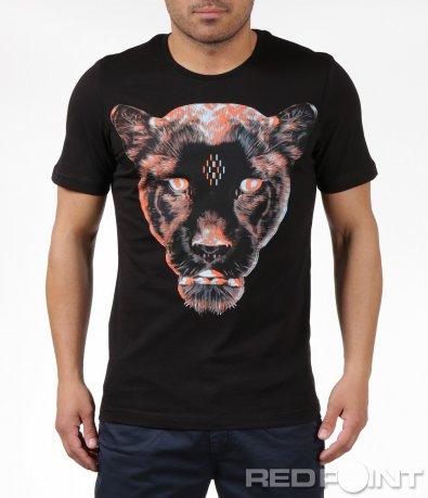 Черна тениска с апликация 6156