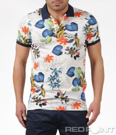 Тениска с яка в цветен принт 6159