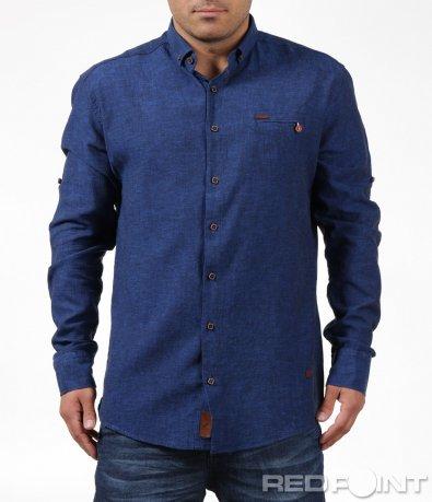 Синя риза в спортно-елегантна кройка 6198