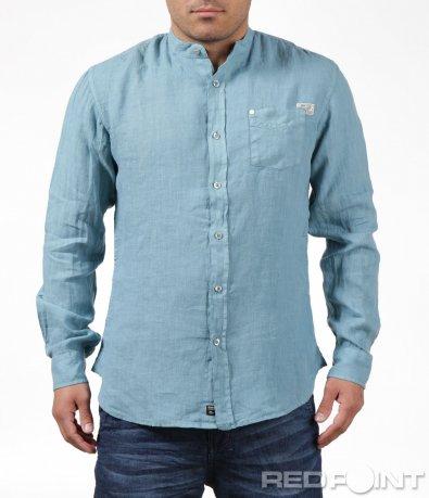 Тюркоазена риза в спортно-елегантна кройка 6201