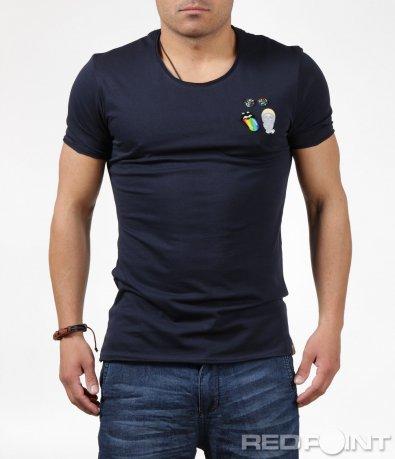 Изчистена тениска с цветни елементи 6237