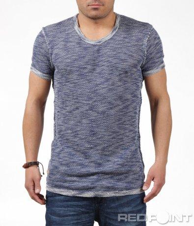 Ефектна тениска в син меланж 6240
