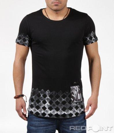 Черна тениска с ромбоидни елементи 6243