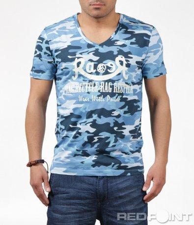 Семпла тениска в син камуфлаж 6244