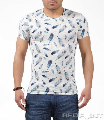 Свежа тениска с цветни пера 6245
