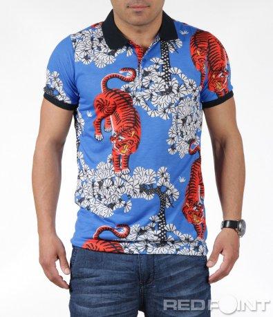 Пъстра тениска с яка 6252