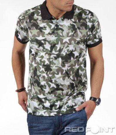 Камуфлажна тениска с яка 6253
