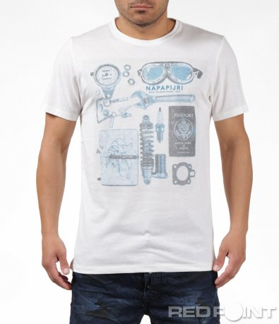 Бяла тениска с апликации 6263