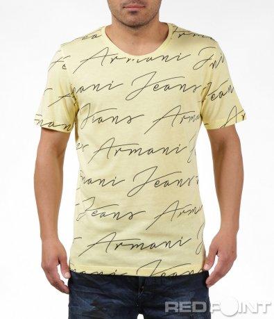 Жълта маркова тениска с надписи 6264