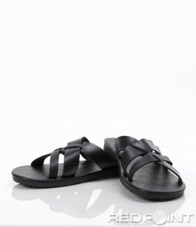 Черни чехли от еко кожа 6277