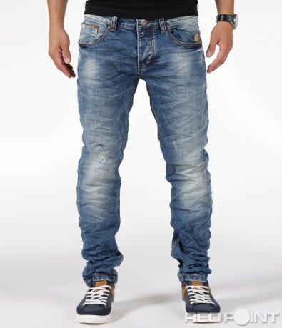 Сини дълги дънки с кожени акценти 6279
