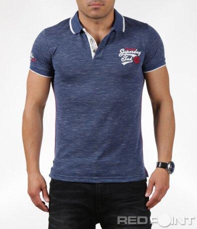 Ефектна тениска с яка и нашивки 6287