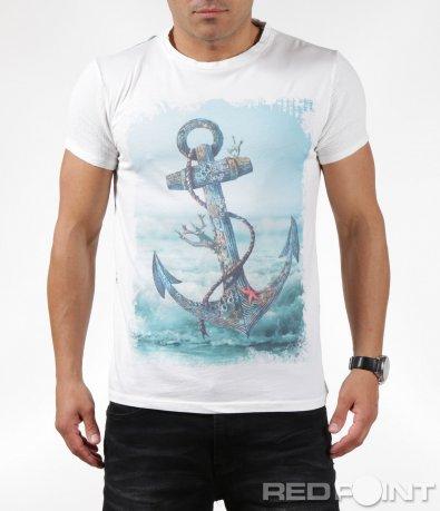 Щура тениска с апликация котва  6291