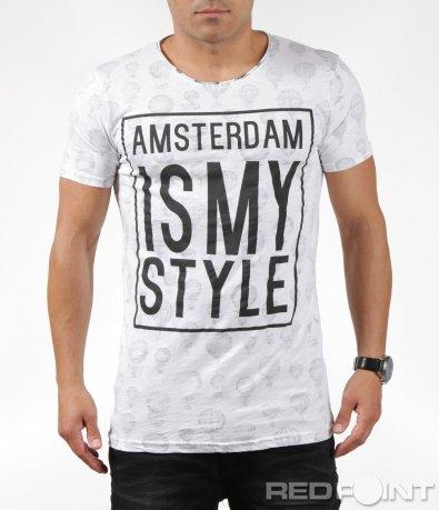 Стилна бяла тениска с надпис 6298