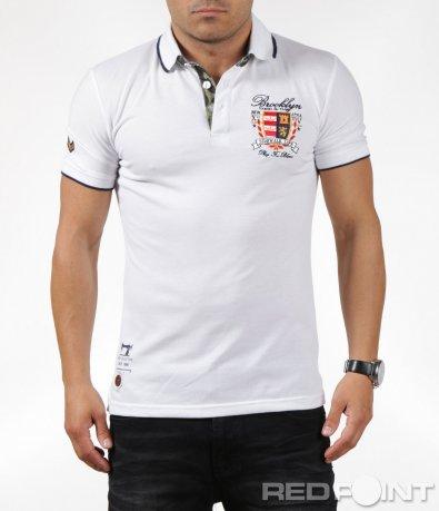 Тениска с яка с орнаменти и нашивки 6299