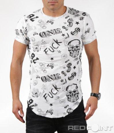 Впечатляваща тениска с кръпки и надписи 6306