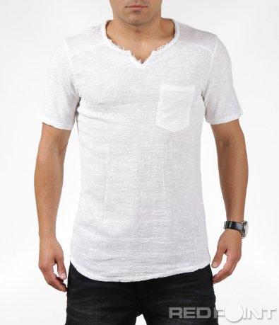 Бяла лятна ленена тениска с къс ръкав 6307