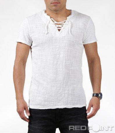 Свежа бяла тениска с връзки 6308