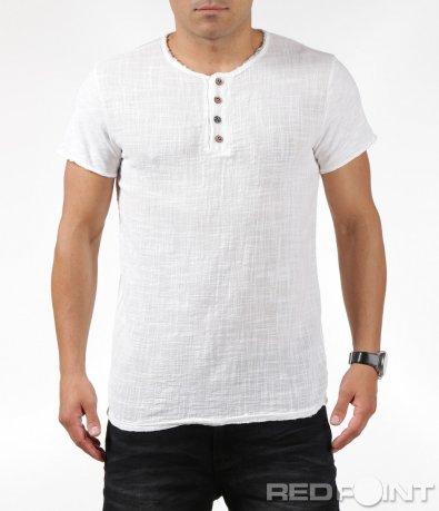Лятна бяла тениска с копчета 6309