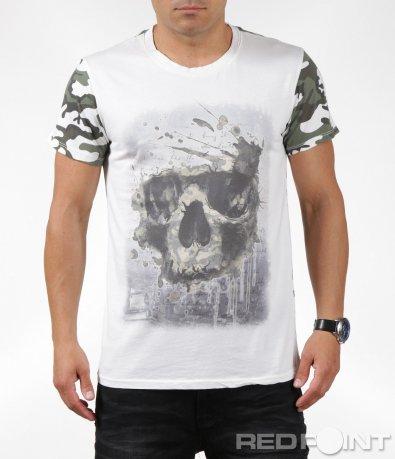 Свежа лятна тениска с щампа череп 6311