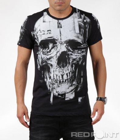 Тениска с апликиран череп 6324