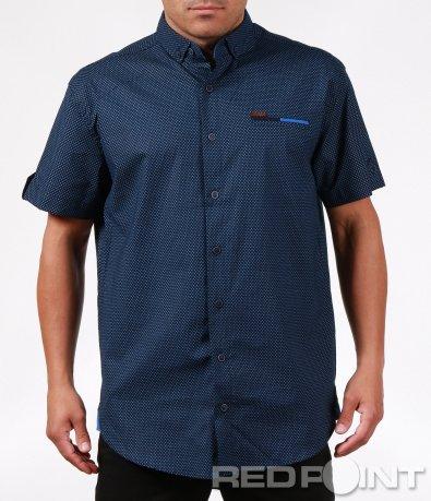 Синя риза с къс ръкав 6401