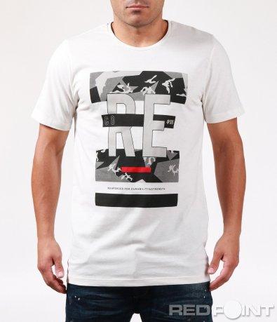 Бяла тениска с ефектна щампа 6454
