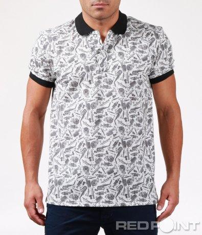 Атрактивна тениска с яка 6462