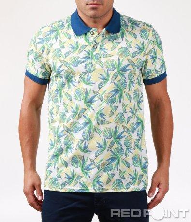 Тениска с яка и флорален десен 6463