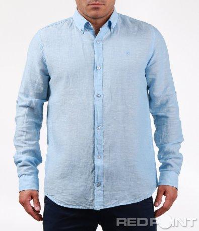 Класна ленена риза с копчета 6468