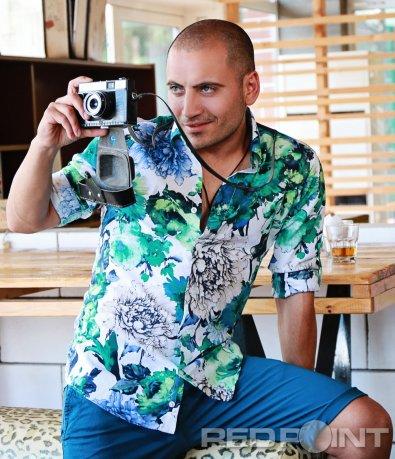Цветна риза с флорални елементи 6474
