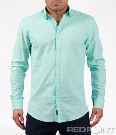 Тюркоазена памучна риза 6477