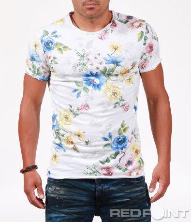 Ефектна бяла тениска на цветя 6491