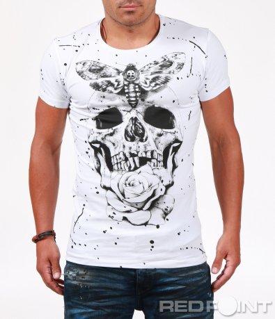 Бяла тениска с едра щампа 6506