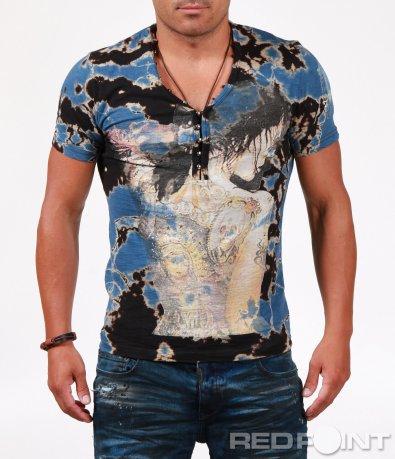 Многоцветна тениска с бод деколте 6510