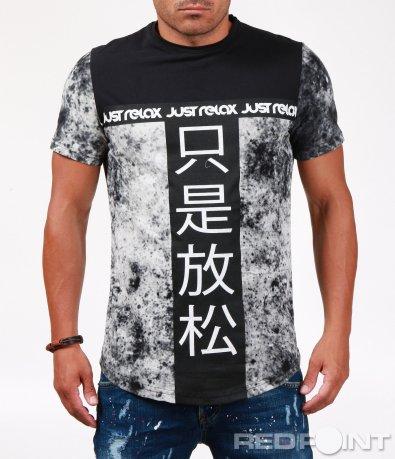 Фешън тениска с йероглифи 6516