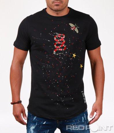 Тениска с бродирани декорации 6518