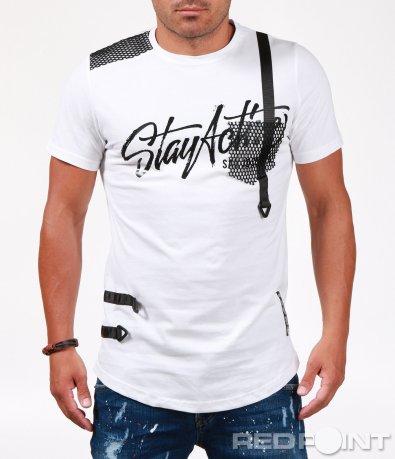 Свежа тениска с декоративни каишки 6519