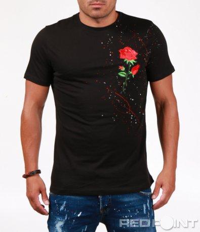 Черна тениска с пръски и бродерия 6520