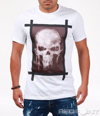 Тениска с апликиран череп 6514