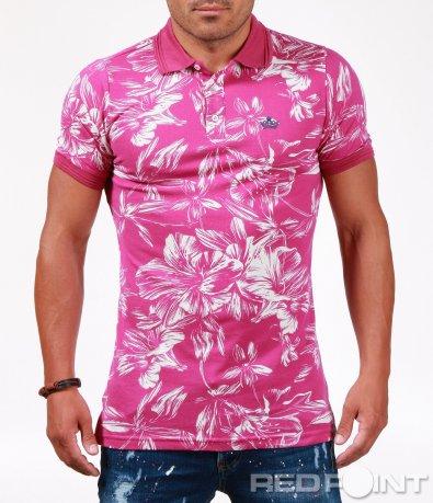 Розова тениска с яка 6527