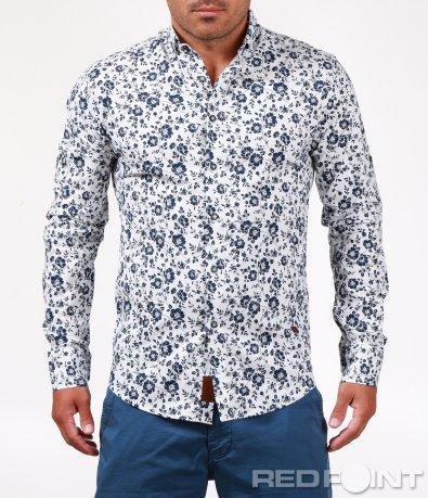 Ефектна риза с флорални мотиви 6530