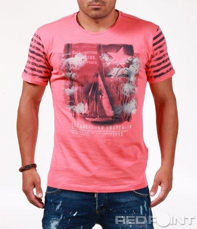 Ярко розова тениска с морски щрих 6539