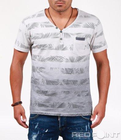 Тениска с раиран флорален десен 6545