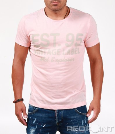 Бледо розова тениска с надпис 6555