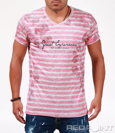 Розова тениска в раиран десен 6544