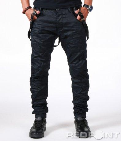 Дълги дънки в черно с тиранти 6593