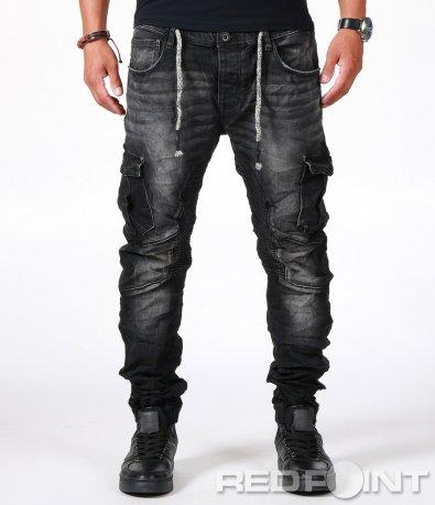 Стилни черни дънки с връзки 6609