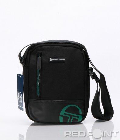 Черна спортна чанта с емблема 6620
